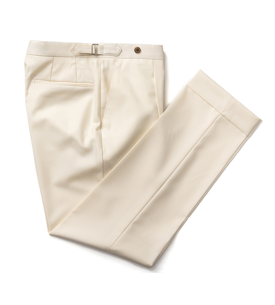 Canonico wool Beltless Pants (Cream)